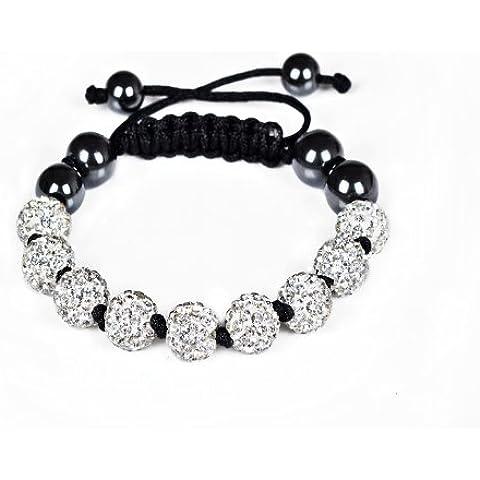(Bianco) nuovissima collezione/nuovo stile buona qualità Amazing Color 9palline Shamballa braccialetto/braccialetto con perle di argilla shamballa cristallo pavé a sfera/ - Stile Cristallo Perla