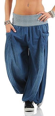 Hose Dame Haremshose Pumphose Aladinhose Sommerhose weite Hose CL 416-2 (One Size ( 36-42 ), Blue)