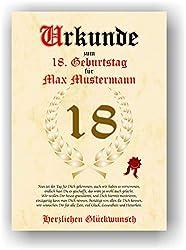 Urkunde zum 18. Geburtstag - Glückwunsch Geschenkurkunde personalisiertes Geschenk mit Name Gedicht und Spruch Karte Präsent Geschenkidee DIN A4