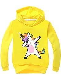 OLIPHEE Felpa con Cappuccio Stampato di Animato Unicorno Carino Felpa Sottile per Bambine e Ragazze