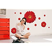 UberLyfe Red Flowers Wall Sticker Size 2 (Wall Covering Area: 50cm x 110cm) - WS-001373