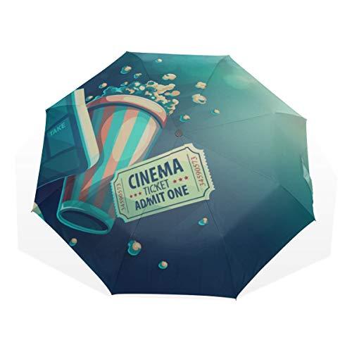 Reiseregenschirm Movie Clapper und Film Reel Cinema Anti Uv Compact 3 Fold Art Leichte Klappschirme (Außendruck) Winddicht Regen Sonnenschutzschirme Für Frauen Mädchen Kinder -
