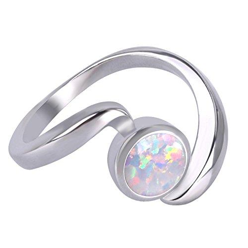 KELITCH Ring Damen Synthetische Weiß Opal Twist Stapelringe 925 Sterling Silber Überzogen Ringe Mädchen Herren - Größe 7 (54mm) (Ringe, 7 Größe Herren)