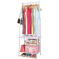 Harima - Egemen Perchero de metal revestido con polvo, color blanco, resistente, con una barra para colgar ropa y un 2 niveles estante para zapatos, espacio