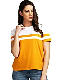 AELOMART Women's Cotton Round Neck Mustard Half Sleeve Top(AWT2053MDW-P)