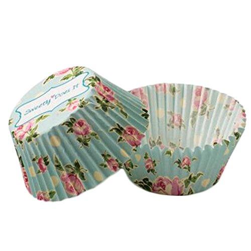 Blancho 500PCS Belles tasses de papier de cuisson de biscuit cupcakes cupcakes tasse, Motif de fleur