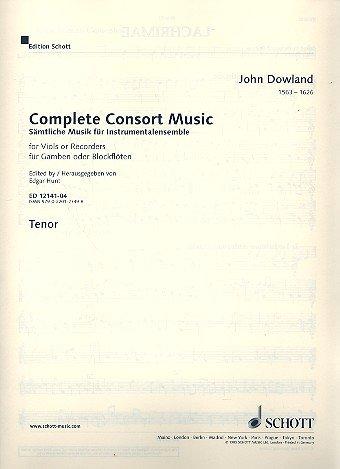 Sämtliche Musik für Instrumentalensemble: Werke für Gamben oder Blockflöten. 5 Streicher oder 5 Blockflöten (SATTB) und Basso continuo (Laute, Noten Orgel). Tenor, Violinschlüssel oktaviert.