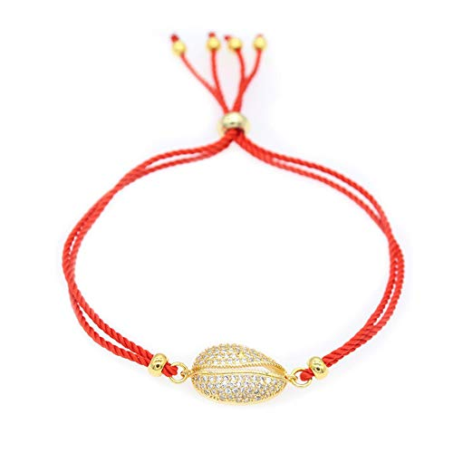 MATBC Crystal Sea Shell Charm Armband für Frauen Red String Bracelets & Bangles Summer Style Jewelry (Sea Red Armband)