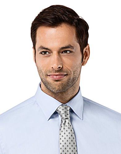 Vincenzo Boretti Herren-Hemd Bügelfrei 100% Baumwolle Slim-Fit Tailliert Umschlagmanschette Uni-Farben - Männer Lang-Arm Hemden für Anzug mit Krawatte Business Hochzeit Eisblau