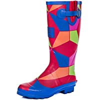 SPYLOVEBUY Adjustable Buckle Flat Festival Wellies Rain Boots Geo Rainbow Sz 4
