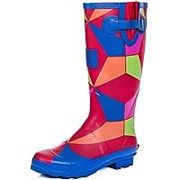 SPYLOVEBUY Adjustable Buckle Flat Festival Wellies Rain Boots Geo Rainbow Sz 4