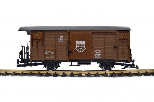 Train Gedeckter Güterwagen, RHB Gbk-v, braun, Spur G, Edelstahlr