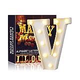 Ciojio Alfabeto Luce Bianco LED Notte Lampade Lettere Plastica Piedi Impiccagione Illuminazione per Matrimonio Festa Natale Camera Decorazione (V)