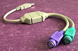 Adaptateur avec fiche USB A mâle ET fiche PS2 Mini DIN 6pins x2 femelle, Gris, pour clavier souris
