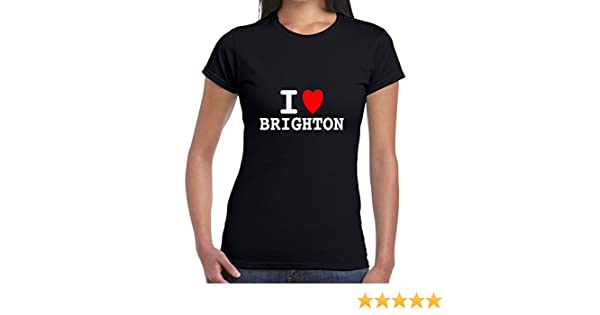 I heart love BRIGHTON T SHIRT girly T WOMENS lady fit skinny BNWT retro funny