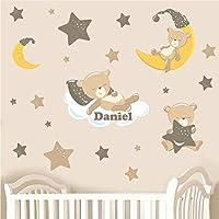 Childrens Personalised Teddy & Stars - Brown Neutral - Nursery Printed Wall Art Vinyl Stickers