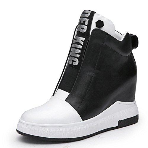 GTYW Damen High Heels Damen Stiefel Damen Leder Flache Freizeitschuhe Erhöhte Buchstaben Mode Student Schuhe Herbst Und Winter Flut Bare Boots,WhiteVelvet-34 (Buchstaben Komfortable)