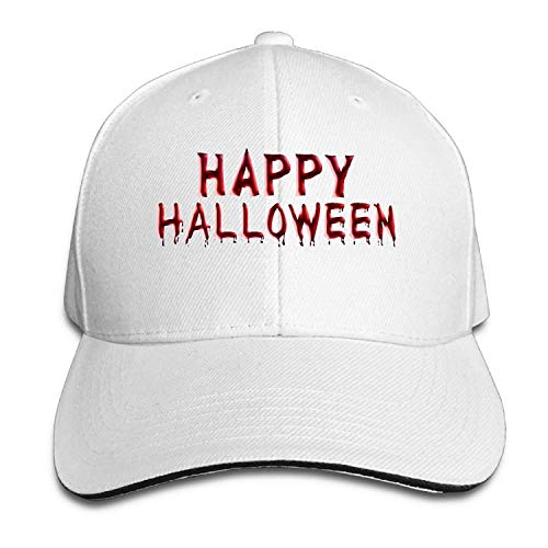 Zengyan Men's Women's Happy Halloween Alphabet Blood Cotton Adjustable Peaked Baseball Cap Adult Sandwich Hat