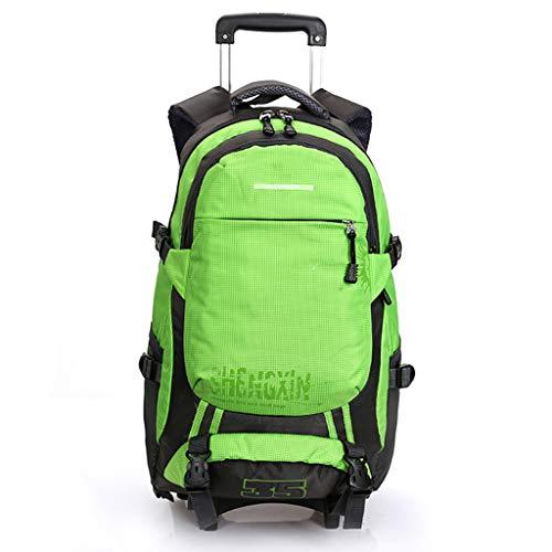Rucksäcke mit Rollen Geschäftsreisender 19-Zoll Laptop-Rucksack Große Kapazität Handgepäck-Tasche Abnehmbare Trolley-Tasche für Schulsportler,Green