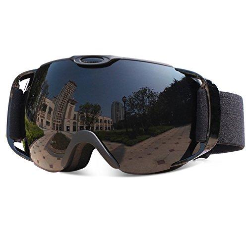 VILISUN - Skibrille, Snowboardbrille, Schneebrille, Doppelscheibe 100% UV 400 Schutz, Anti-Fog Skibrille, 3-Schichten atmungsaktiver Memory-Schaum, Windschutz & Anti Blendung & Staubdicht Brillengläser (Tiefschwarz)