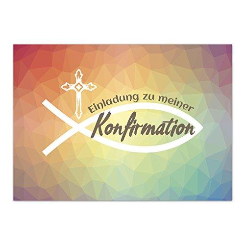 15 x Einladungskarten zur Konfirmation mit Umschlägen / Regenbogenverlauf Mosaik Modern / Konfirmationskarten / Einladungen zur Feier