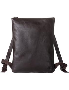 DUDU Herren Rucksack schmal und elegant in echtem, weichem Leder mit Reissverschluss Dunkelbraun