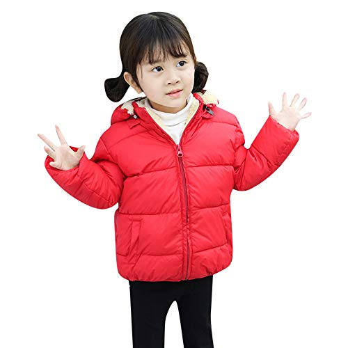 Yanhoo Baby Winter Parka Mantel Kinder Langarm Lamm Kaschmir Daunen Baumwolle Einreiher mit Kapuze Jungen Mädchen Warme Sweatjacke Fleecejacke 3T-7T