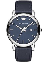 Emporio Armani AR1731 - Reloj de cuarzo con correa de cuero para hombre, color azul