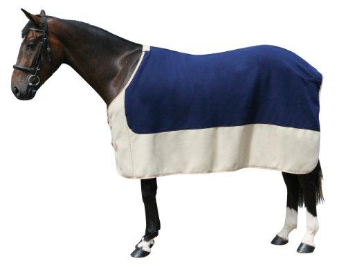PFIFF 100982 Pferde Polarfleecedecke Costa, Fleecedecke Pferdedecke, Blau / Beige 165