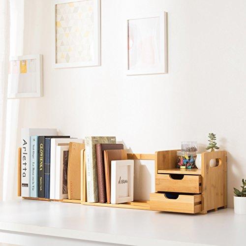 ollieroo natur Bambus Schreibtisch Organizer mit ausziehbar Speicher für Büro und Zuhause (Oben Auf Datei-ordner)