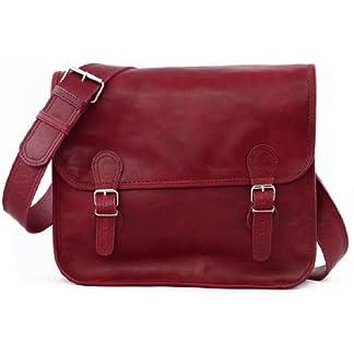 PAUL MARIUS LA SACOCHE BORDEAUX (M) Bolso bandolera de cuero, estilo vintage, (apropiado para A4), color Burdeos Rojo Oscuro Vintage & Retro