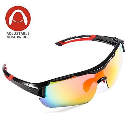 CrazyFire Polarisierte Sportbrille, Einstellbare Nasenbrücke Fahrradbrille,5 Austauschbare Linse,UV-Schutz Polarisierte Sportsonnenbrille für Baseball Wie Herren Autofahren Laufen Radfahren Angeln