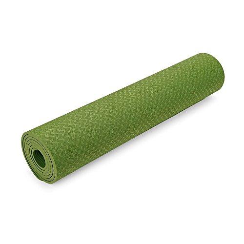 BISOZER Outlife - Alfombrilla de Yoga de Alta Densidad y Ligera, respetuosa con el Medio Ambiente, Saludable y reciclable, Antideslizante, Verde