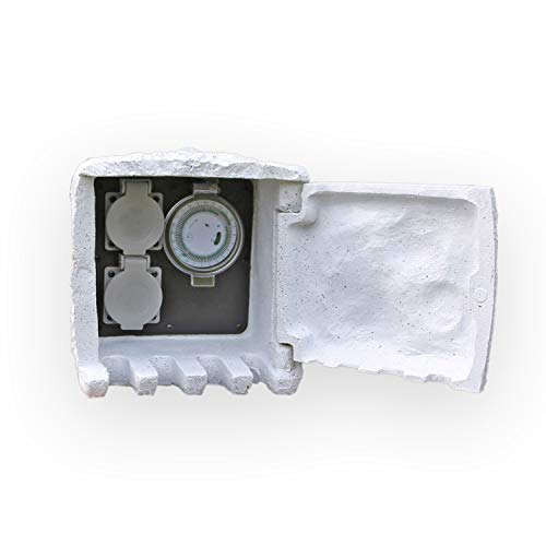 CLGarden Gartensteckdose SD1T mit Zeitschaltuhr Timer Aussensteckdose IP44 für Beleuchtung Steinsteckdose