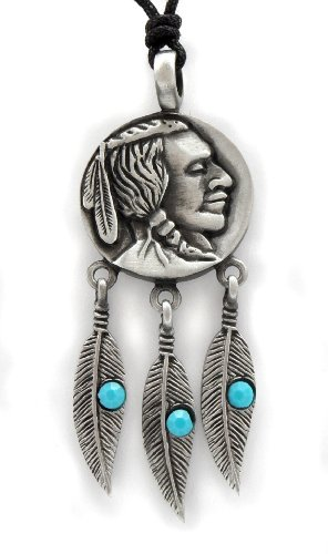 Mystical & Magical Pewter & Turquoise Red Indian Native American