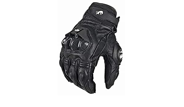 Herren Leder Motorrad Motorrad Handschuhe Off-Road Winddicht Fallproof Fahrrad Radfahren Motocross Handschuh Schwarz//Wei/ß