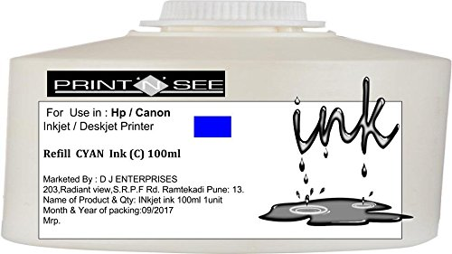 PRINTNSEE HP GT 5810/5820 /CANON PIXMA Cyan Refill Ink (100Ml) 1 Bottle For Refilling Hp 22/802/803/27/678/703/818 / Canon 811/ 745 Cartridges. By : PRINTNSEE Inks  available at amazon for Rs.140