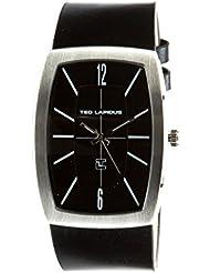 Ted Lapidus - 5128401 - Montre Homme - Quartz Analogique - Cadran Noir - Bracelet Cuir Noir