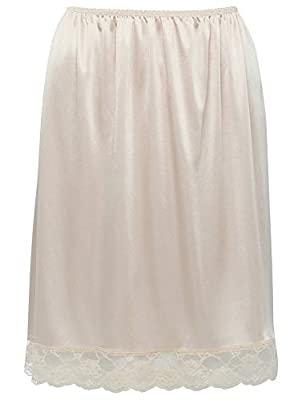 M&Co Ladies Nude Smoothing Silky Soft Cling Resistant Half Length Lace Trim Under Skirt Slip