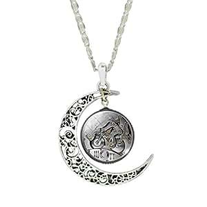 Jiayiqi Bijoux Matériel Mécanique Vintage Unisexe Steampunk Crescent Lune Pendentif Bijou Collier Cadeau De Noël