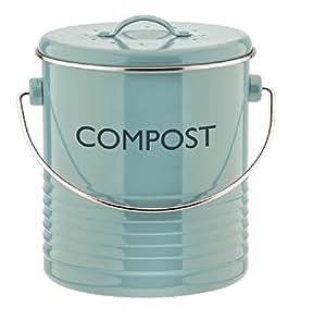 Typhoon Poubelle à compost en métal vintage pour cuisine Bleu