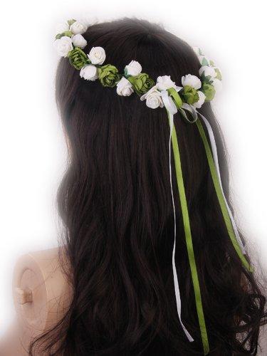 Braut Rose Blumen Niederlassungs Hochzeits Kopf Kranz Krone floral Halo Kopfstück photography Werkzeug für Erwachsene (Weiß und (Perücken Halo)