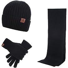 6a219e3dffa43 Stillshine Chaud Bonnet Tricoté + Longue écharpe + Gants à écran Tactile 3  PCS Automne Hiver