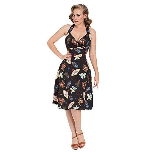 Voodoo Vixen Kleid Lucy Vegas Print Black Flared Dress 8469 (L, Schwarz)