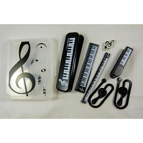 Music Themed Set de escritorio - caja de lápiz Teclado blanco, regla, grapadora, clips de papel, goma de borrar y lápices 2