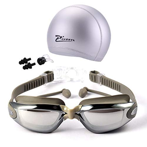 Moocevill - Myopie Schwimmbrille HD kurzsichtig eine Brille Acetate Brille Plattierung Linse Erwachsener Swimschutzbrillen Pools Schwimmen [Electroplatesliver]
