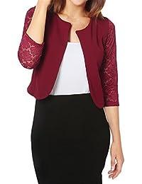 ELFIN® Veste de tailleur femme à manches 3/4 blazer femme chic en épissage dentelle élégant petite veste de costume Saison Automne Printemps
