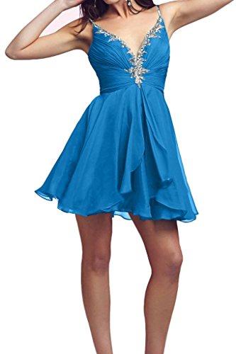 Victory Bridal 2016 Neu Rot Spaghetti-traeger Cocktailkleider Promkleider Partykleider Mini mit Steine Chiffon Blau