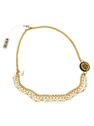 Collana donna sweet years in argento dorato con perline bianche e pietra nera art. s00113