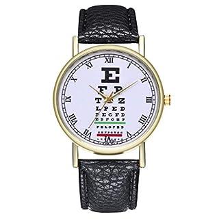 Artistic9- Women Quartz Watches Clock Funny Student Girls Round Pattern Wrist Watch Fashion Analogue Watch with Leather Strap for Women & Girls